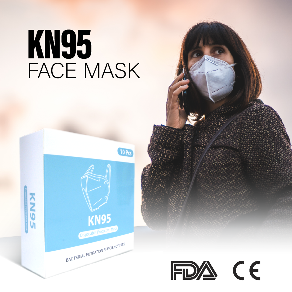 KN95 5-Ply Disposable Protective Face Mask (10pcs) - AA Products Inc