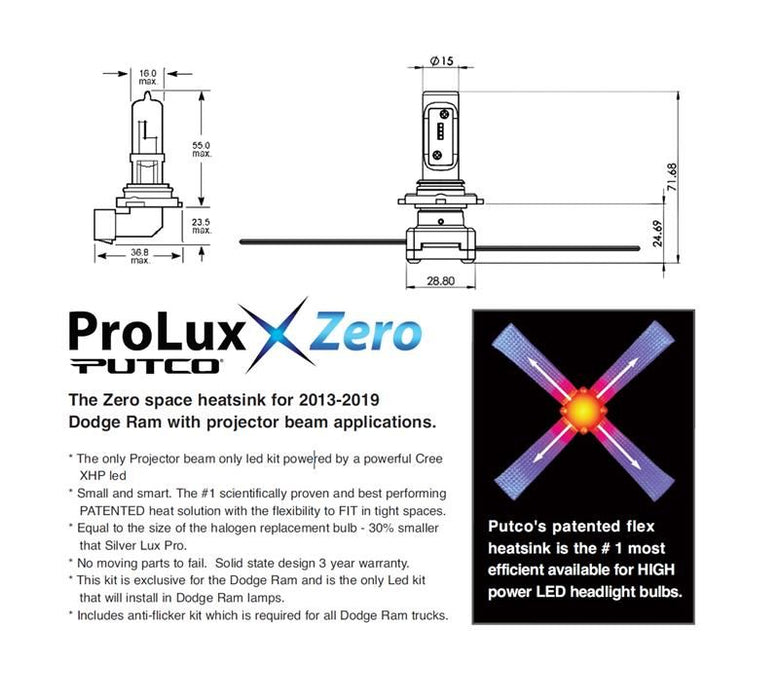 Putco ProLux Zero Space For Use w/Ram Low Beam Projector - AA Products Inc