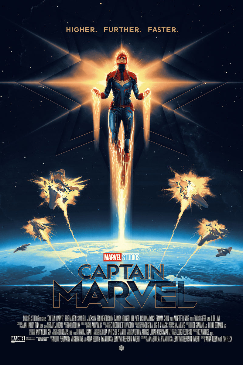 """Captain Marvel"" - Officially Licensed & Limited Edition - Marvel Cinematic Universe Poster Art By Matt Ferguson - Grey Matter Art Exclusive"
