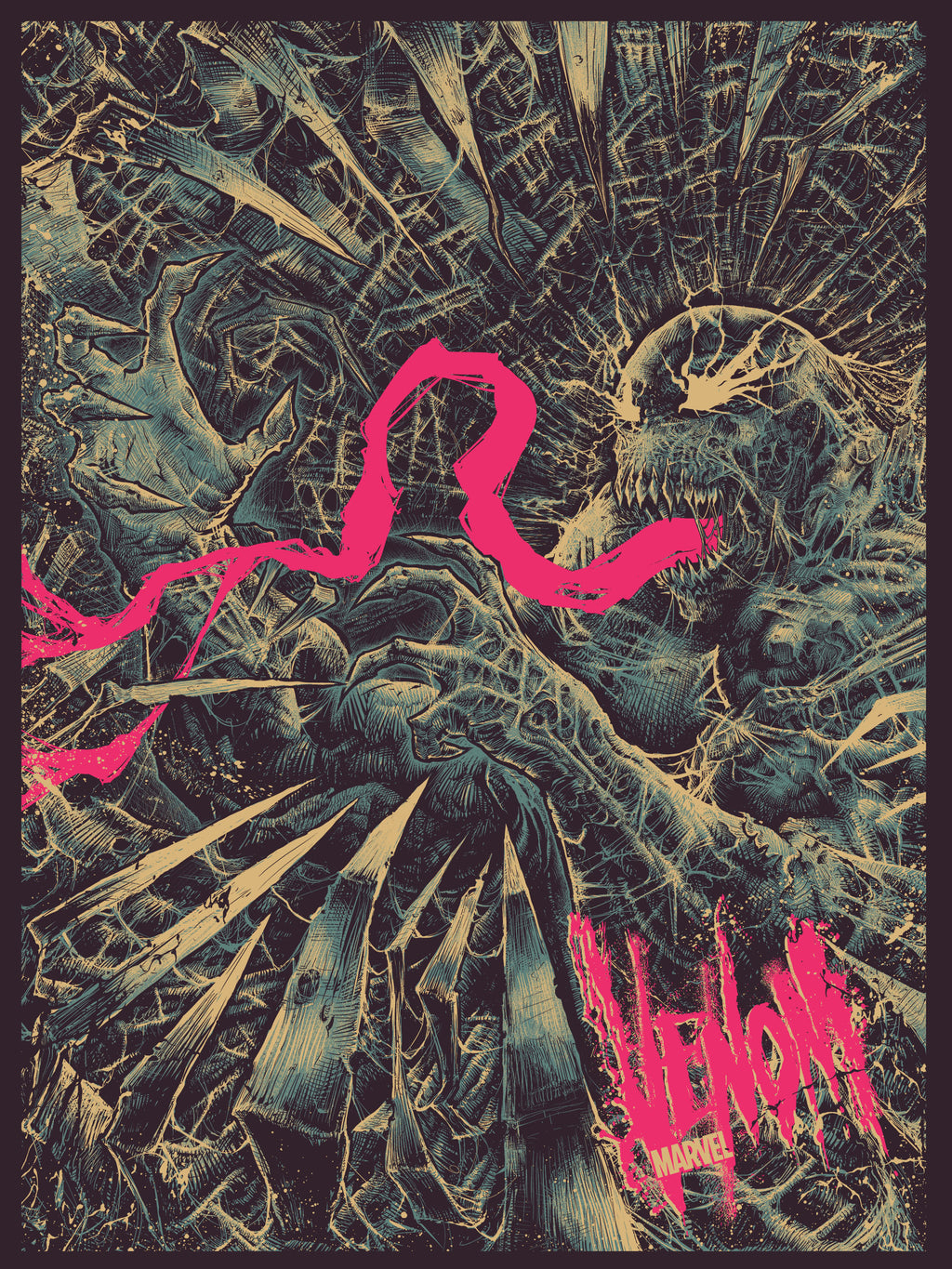 """Venom"" (Glow in the Dark) - Officially Licensed & Limited Edition, Marvel Comics Poster Art By Godmachine 