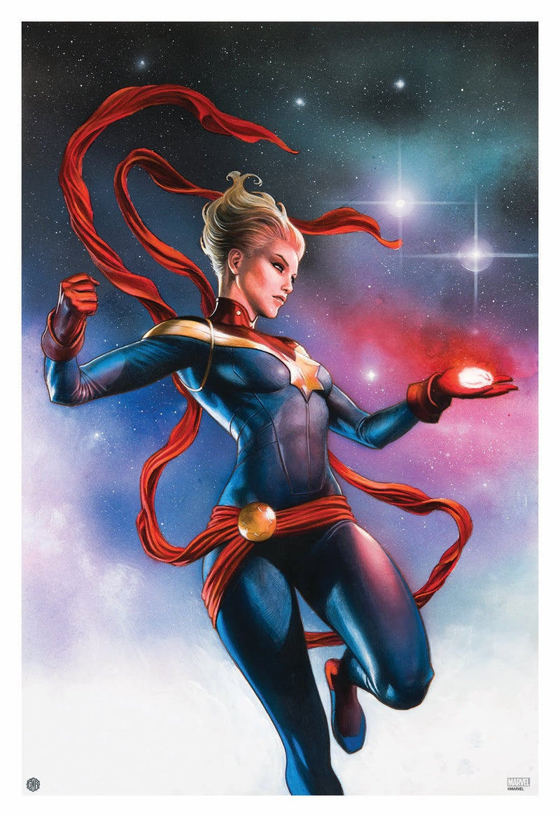 """Captain Marvel Infinity Countdown #1"" - (Variant) Officially Licensed & Limited Edition Marvel Comics Poster Art By Adi Granov"