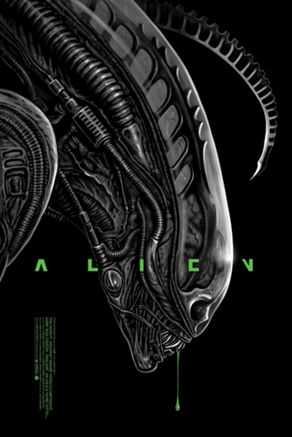 "Officially Licensed, Screen Printed poster art by Artist, Gary Pullin - ""Alien"" - 24""x36"" Ridley Scott, Sigourney Weaver - Limited Edition Horror Sci-Fi Movie Poster - Print Run: 225"