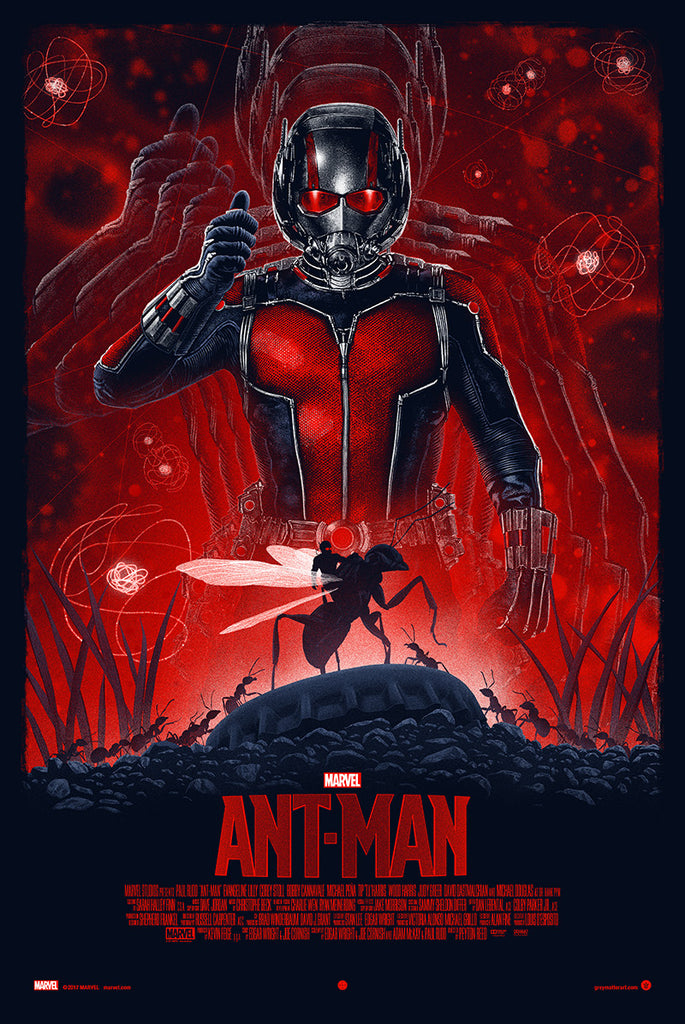 "Officially Licensed, Screen printed poster art - Marko Manev - ""Ant-Man"" - 24""x36"" - Limited Edition - Marvel Comics Movie Poster - Print Run: 175"