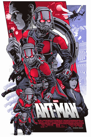 "Officially Licensed, Screen printed poster art - Alexander Iaccarino - ""Ant-Man"" - 24""x36"" Limited Edition - Marvel Comics Movie - Avengers - Print Run: 200"