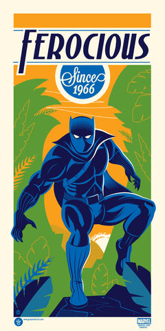 "Officially licensed, screen printed poster art - Dave Perillo - ""Black Panther"" - 12"" x 24"" - Limited Edition Marvel Comics Poster Art - Print Run: 150"