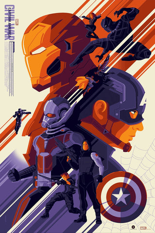 "Officially licensed, screen printed poster art - Whalen - ""Captain America: Civil War"" - 24""x 36"" - Limited Edition Marvel Comics Movie Poster - Print Run: 250"