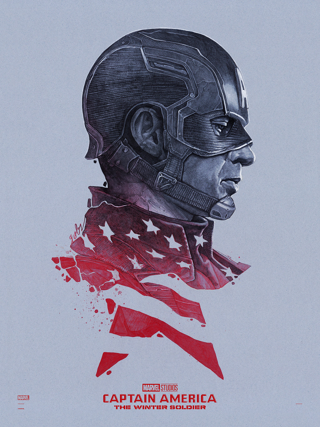 """Captain America: The Winter Soldier"" (Cap Vs.) Edition - Officially Licensed & Limited - (MCU) Marvel Cinematic Universe Poster Art By Gabz 