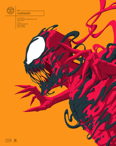 "Officially Licensed, Screen printed poster art - Florey - ""Carnage"" Marvel Portrait Series - 16"" x 20"" - Limited Edition - Marvel Comics Poster - Print Run: 100"