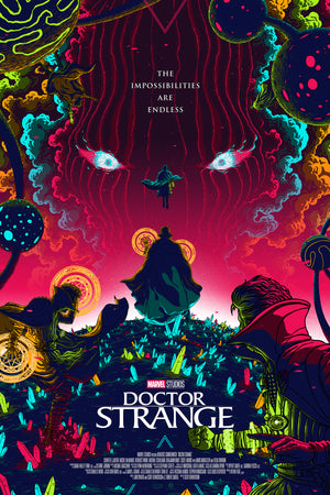"""Doctor Strange"" - Officially Licensed & Limited Edition - Marvel Cinematic Universe Movie Poster By Artist Florey - Grey Matter Art Exclusive"