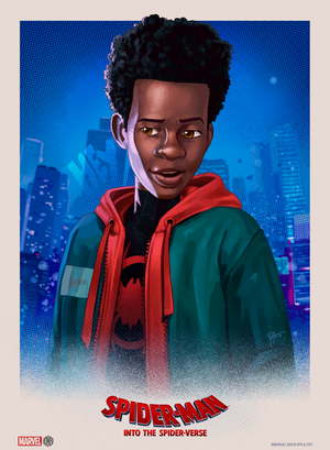 """Into the Spider-Verse"" - Miles Morales (Spider-Man) Officially Licensed & Limited Edition - Sony - Marvel Movie Poster By Ruiz Burgos"