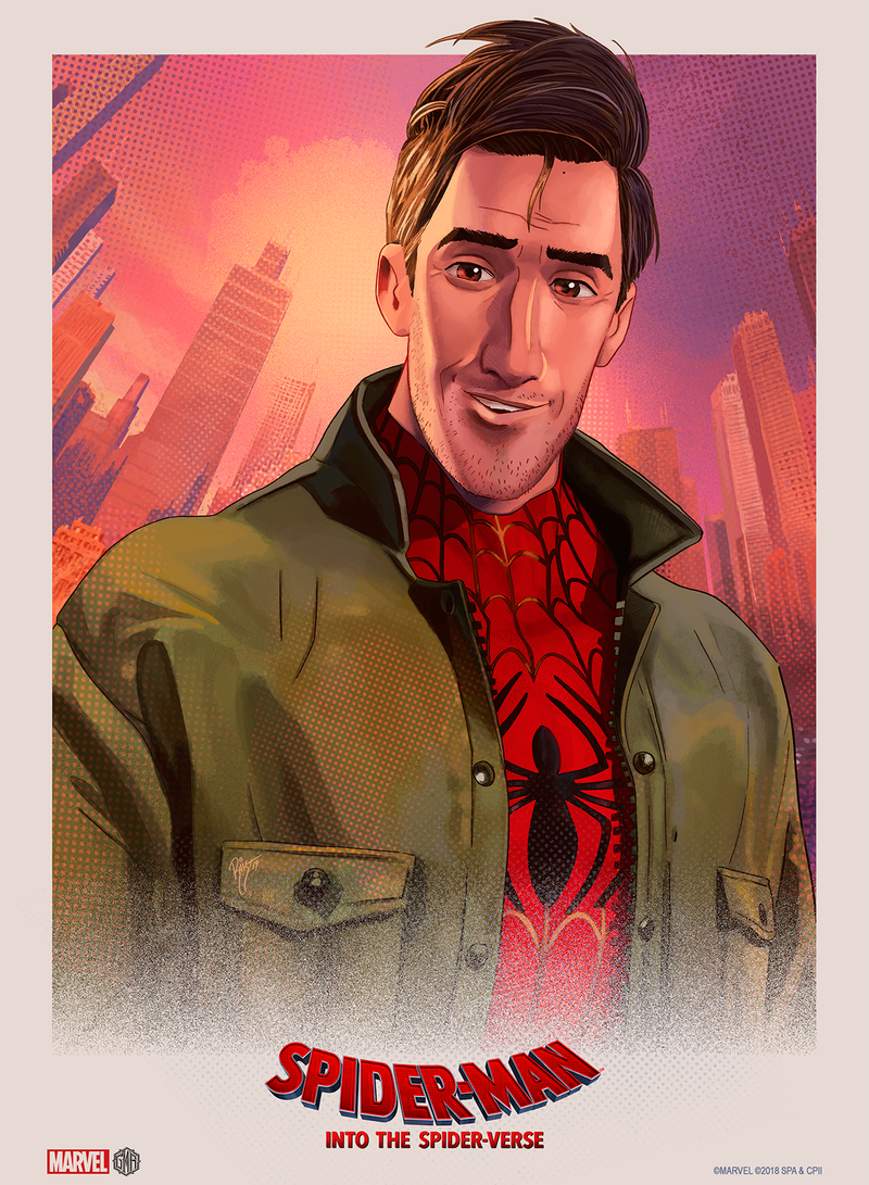 """Into the Spider-Verse"" - Peter Parker (Spider-Man) Officially Licensed & Limited Edition - Sony - Marvel Movie Poster By Ruiz Burgos"