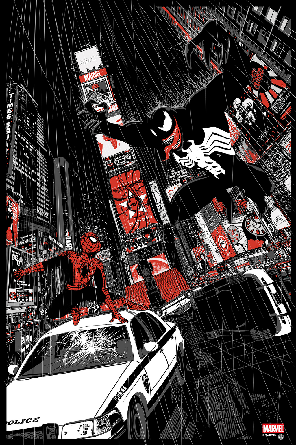 Spider-Man Vs. Venom Noir Variant by Chris Thornley (Raid71)