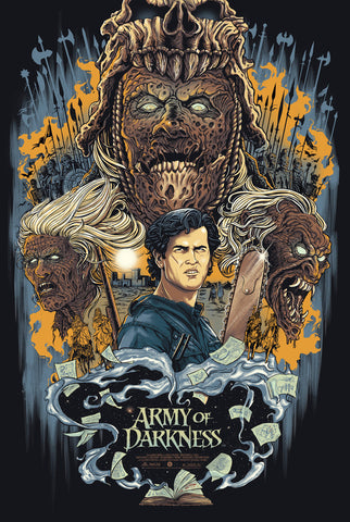 "Officially Licensed, Screen Printed poster art - Pullin - ""Army of Darkness"" 24""x36"" Limited Edition - Glow in the Dark - Ash vs. Evil Dead - Print Run: 200"