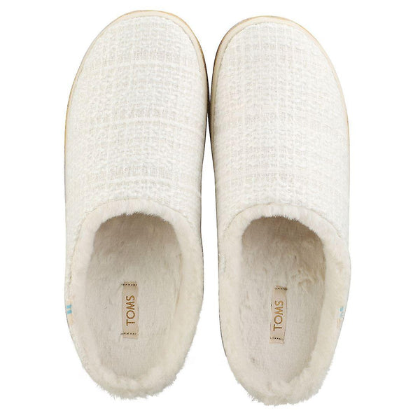 Toms Ivy White Sparkle Tweed Slippers