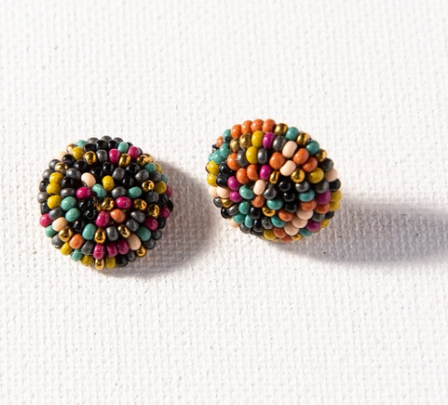 Muted Button Post Earring