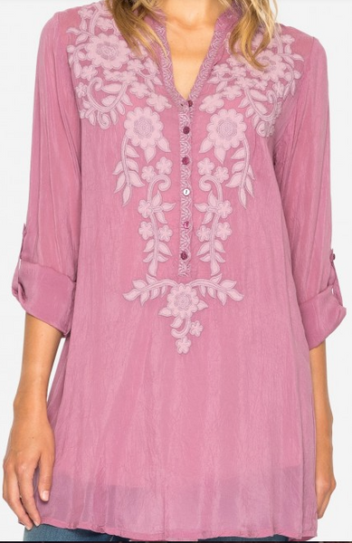 Johnny Was Applique Allie Blouse - Pink
