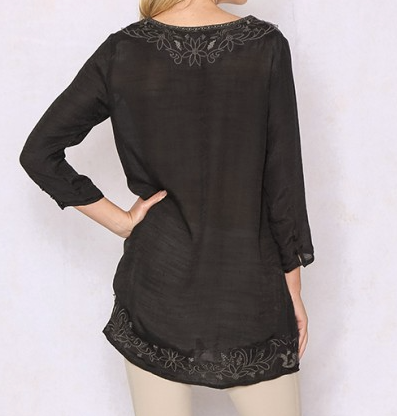 Long Peasant Sleeve Embroidered Top - Black