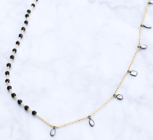 Mixed Metal CZ Stone Convertible Necklace