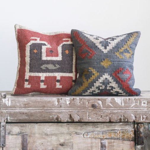 "18"" Square Kilim Pillow - Red"