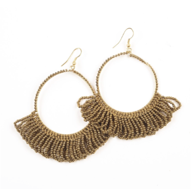 Seed Bead Fringe Hoop Earrings - 3 Colors