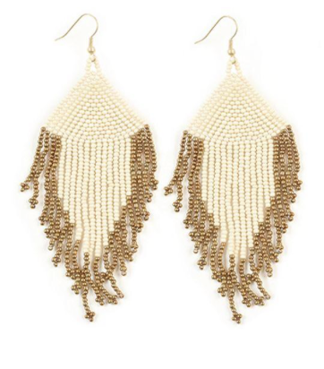 Seed Bead Fringe Earrings - 3 Colors