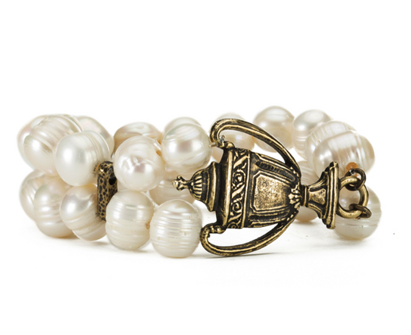French Kande Double Strand Pearl w/ Brass Finaliste