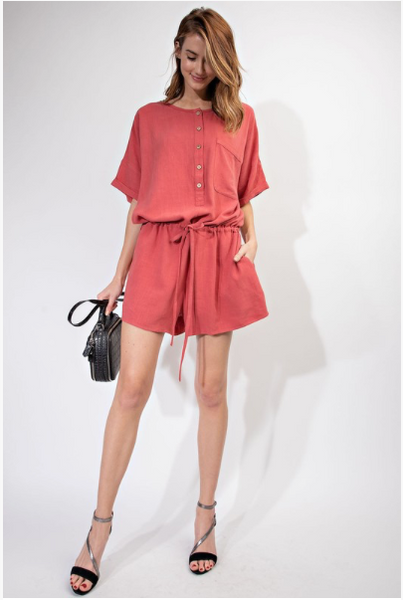 Henley Button Front Romper
