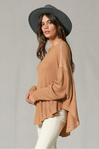 Caramel Thermal Long Sleeve Pullover