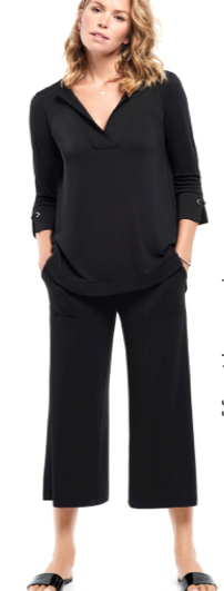 Bylyse Black 3/4 Sleeve Tunic w/Grommet sleeve Detail