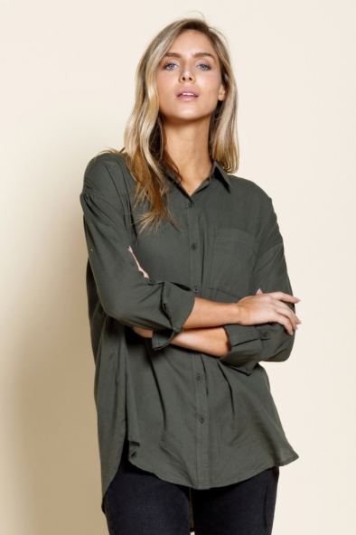 Button Down - Roll Up Sleeve Top