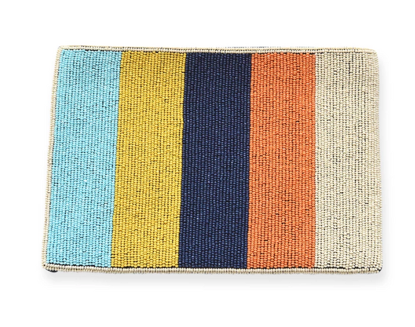 Multi Stripe Beaded Clutch