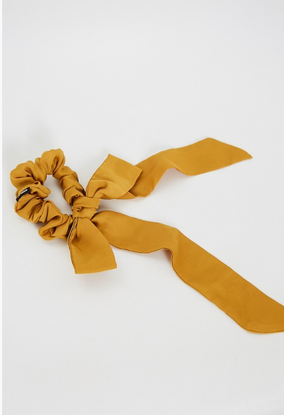 Gold Scrunchie With attached Bow