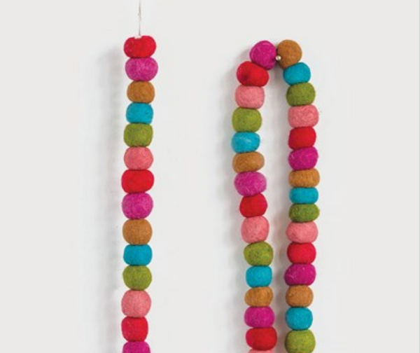 Wool Felt Ball Garland - Multi Color