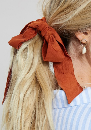 Scrunchie With attached Bow - 2 Colors