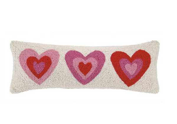 Trio of Pink Hearts Pillow