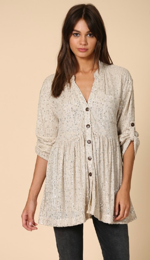 Sequin Button Down Shirt