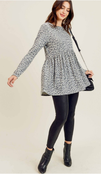 Long Sleeve Peplum - Leopard or Snakeskin