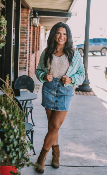 DENIM SIDE BUTTON MINI SKIRT