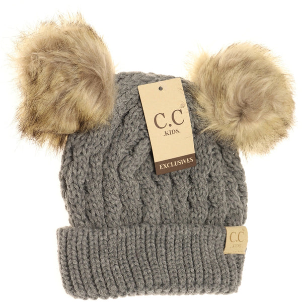 Kids Cable Knit Double Pom Beanie
