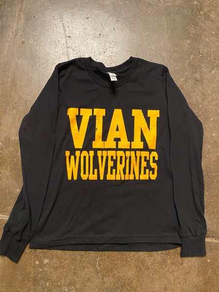 Vian Wolverines Youth Black L/S