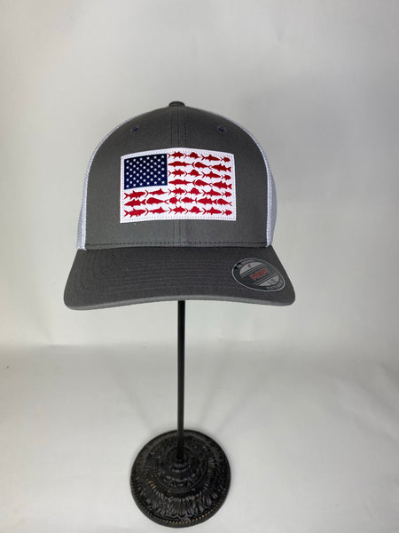 Gray PFG Mesh Fish Flag Ball Cap
