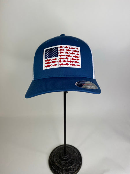 Navy PFG Mesh Fish Flag Ball Cap