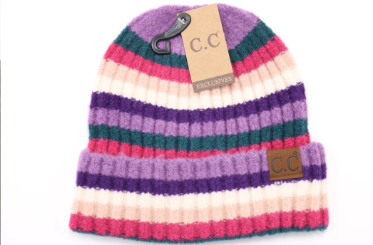 MULTI COLOR STRIPED RIBBED CC BEANIE