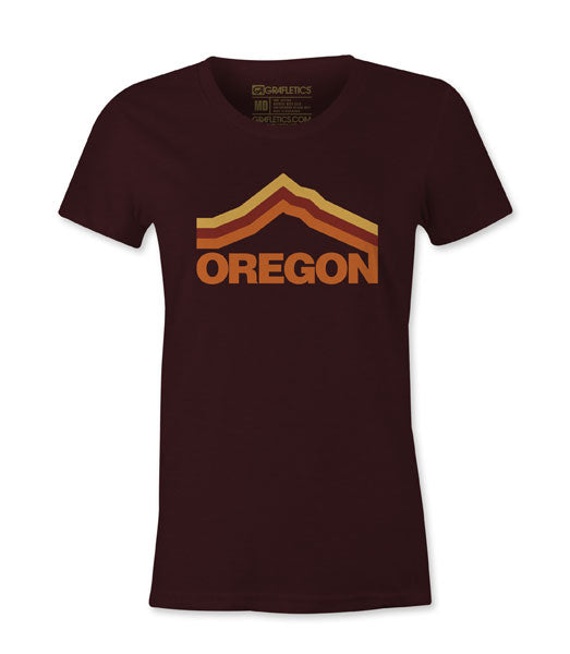Women's Oregon T-Shirt , Women's Maroon Mt. Hood Tee