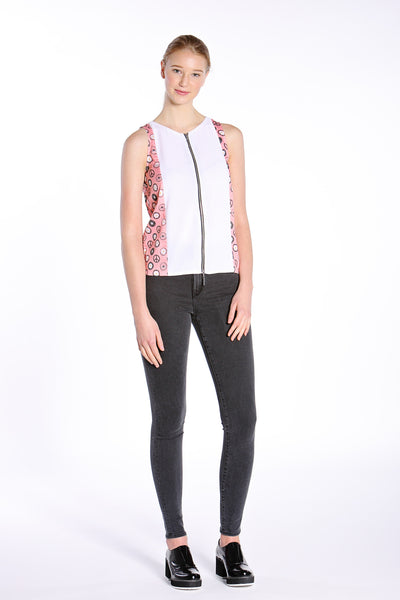 Daisy Chain Sleeveless Zip-up Top