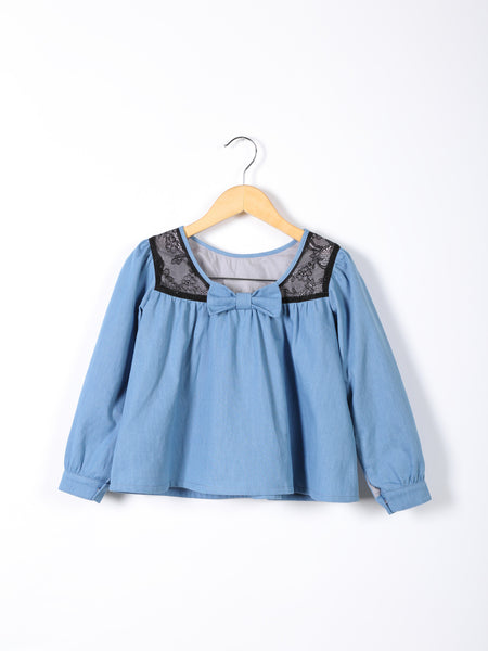 Love Bug Long-sleeved Lace & Denim Top