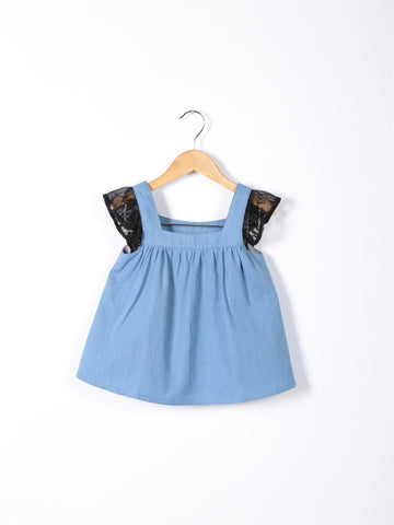 Love Bug Short-sleeved Lace & Denim Top