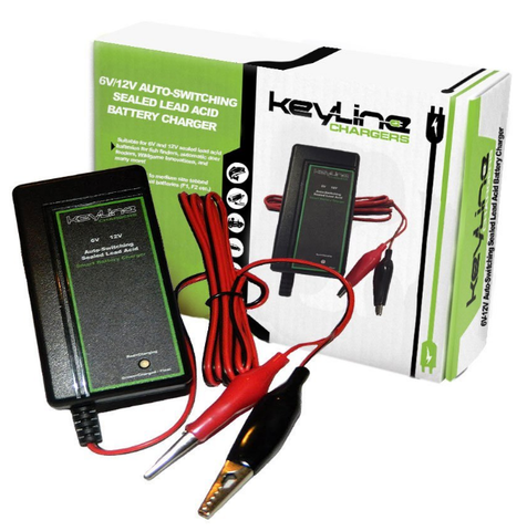 KeyLine Chargers - 6V/12V Auto-Switching Smart Battery Charger w Float Voltage - 3 Stage Trickle Charger for SLA Batteries, Wildgame Feeders & More!