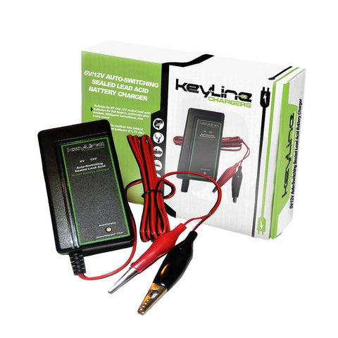 KeyLine Chargers - 6V Or 12V 500mAh Auto-Switching Sealed Lead Acid Battery Wall Trickle Charger