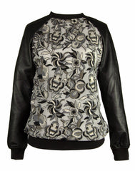 The Mesh Embroidered Leather Top